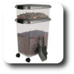 Cat food Storage bin 10lb and 25 lb with scooper